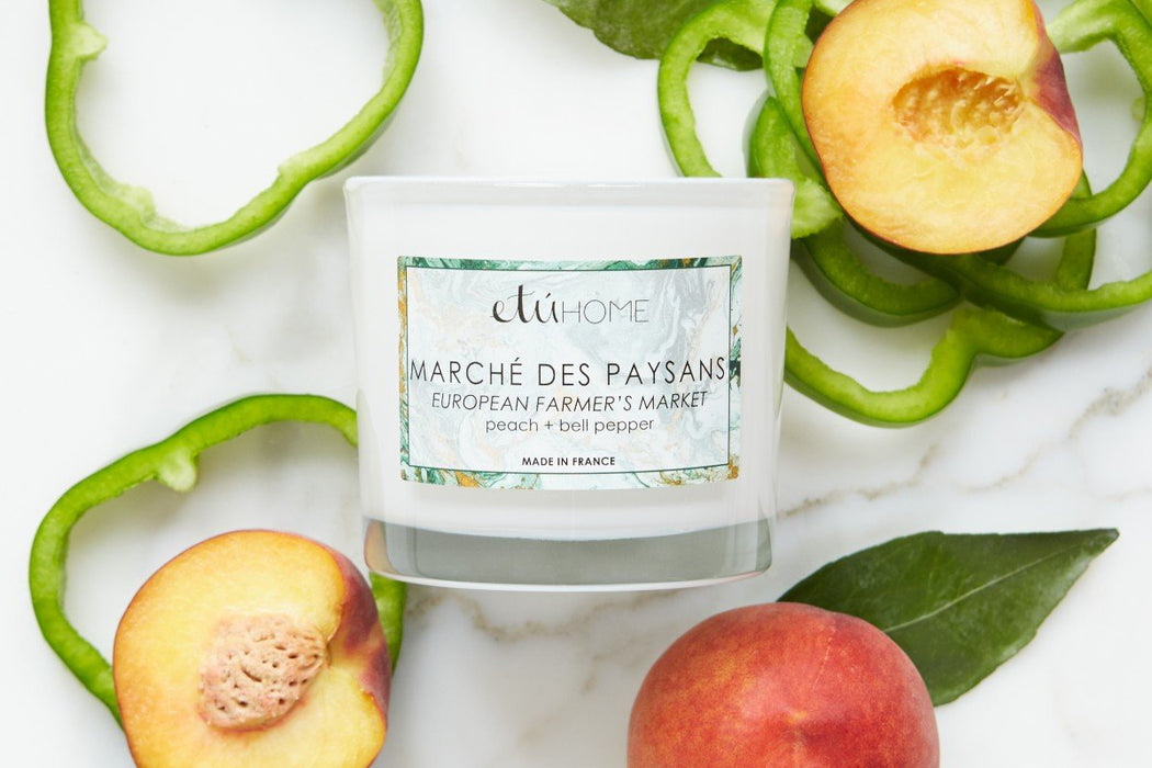 etúHOME Farmers Market Peach and Bell Pepper Candle -3