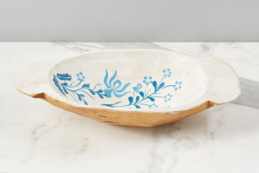 etúHOME White with Blue Folklore Dough Bowl, Small 1