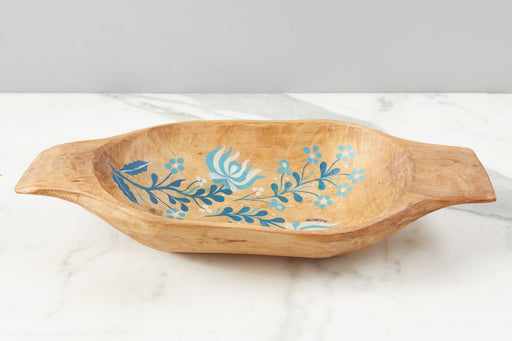 etúHOME Natural with Blue Folklore Dough Bowl, Small 1