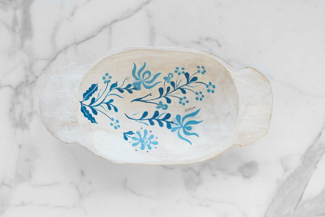 etúHOME White with Blue Folklore Dough Bowl, Small 3