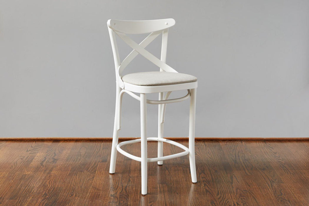 French X-Back Café Counter Stool, White