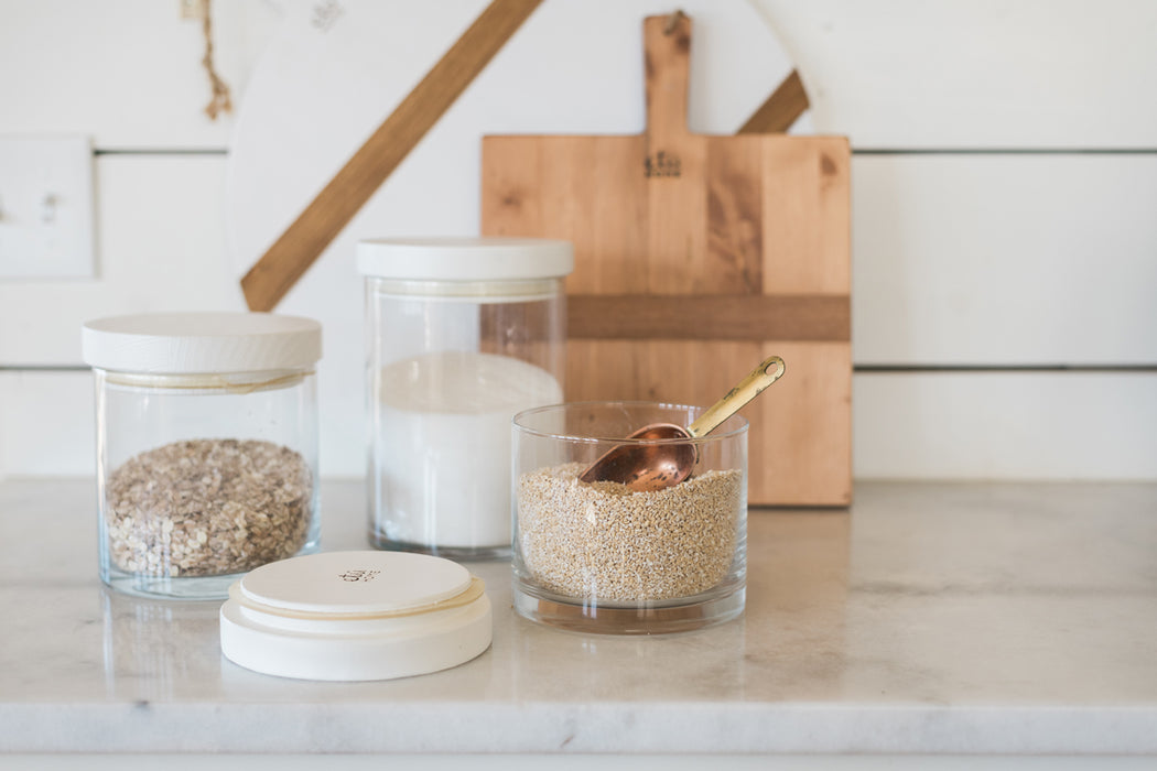PRE-ORDER: White Modern Wood Top Canister, Small
