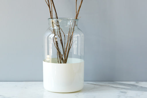 etúHOME White Colorblock Mason Jar, Large 1