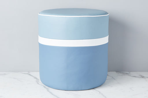 etúHOME Denim Round Leather Ottoman 1
