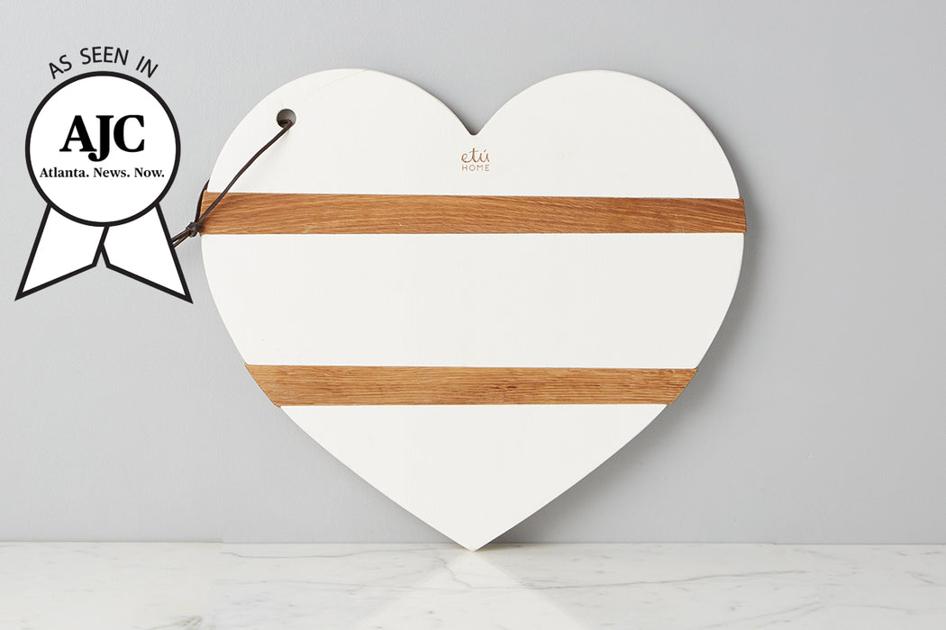 White Mod Heart Charcuterie Board, Large