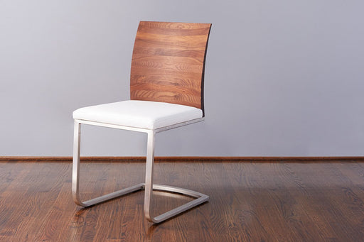 etúHOME Walnut Mod Parsons Chair, White Leather 1