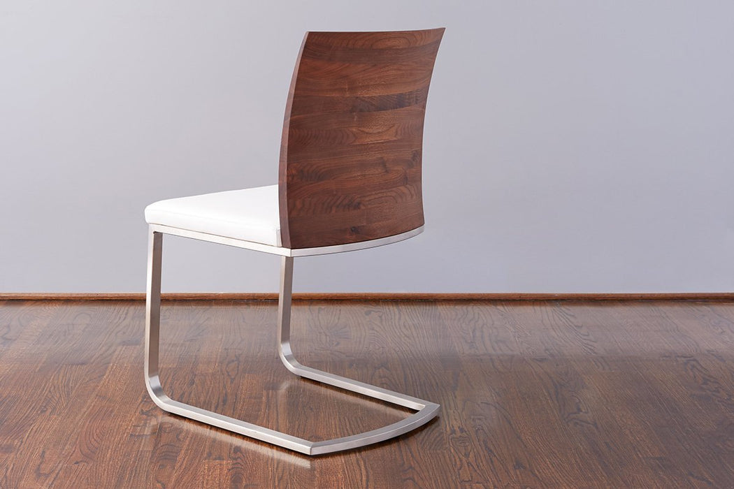 etúHOME Walnut Mod Parsons Chair, White Leather 4