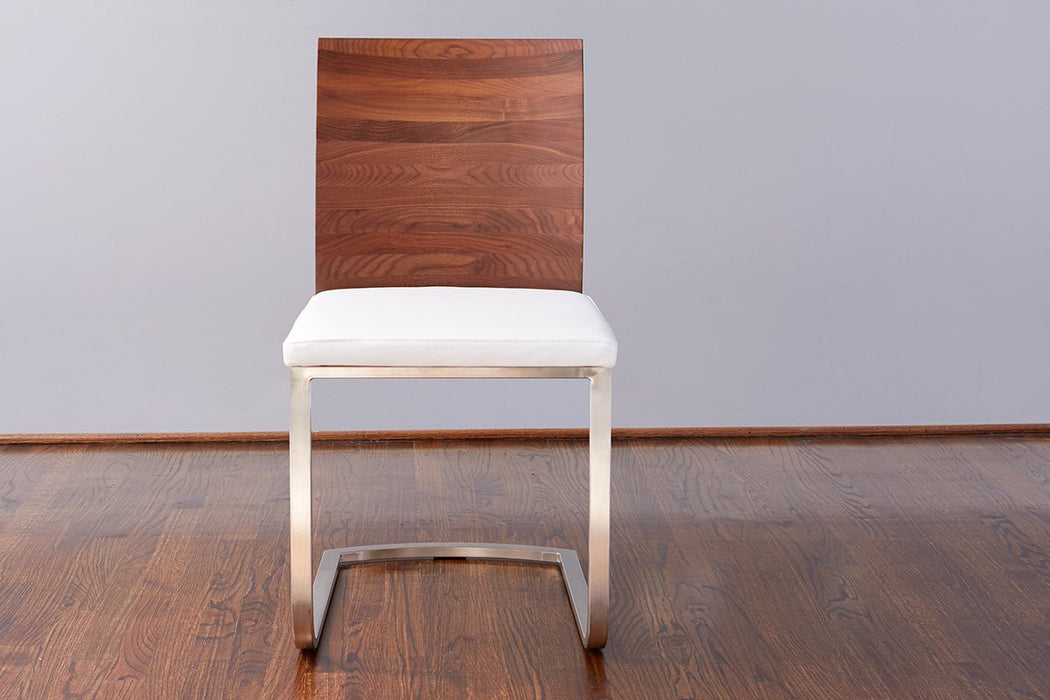 Walnut Mod Parsons Chair, White Leather