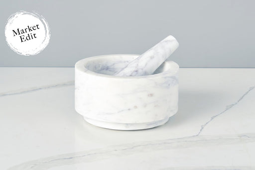 etúHOME White Marble Mortar & Pestle, Large -1
