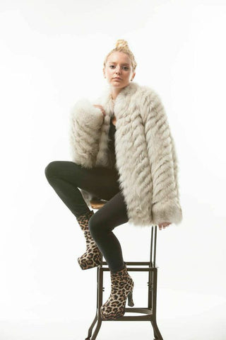 1970's Vintage White Feathered Fox Jacket