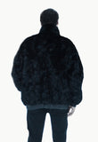 MENS XL BLACK RANCH MINK reversible leather bomber