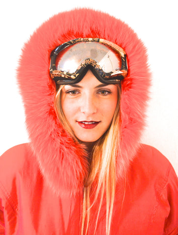 1990's Valentine Red Rabbit Fur Lined Fox Trim Hoodie Parka