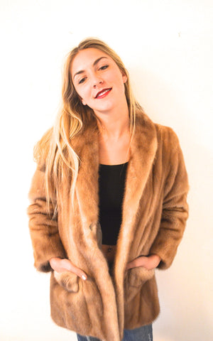 1960's Vintage Pastel Brown Short Mink Fur Coat