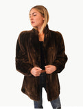 Natural Sheared Beaver Mid Length  Fur Coat