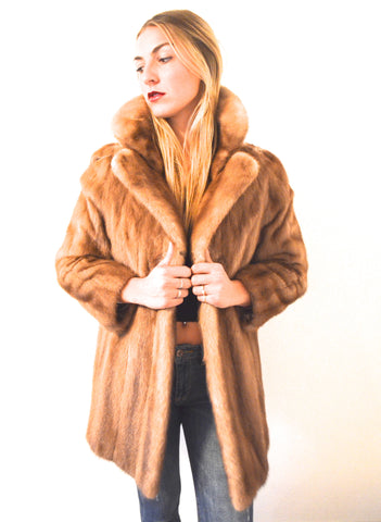 1970's Vintage Pastel Brown Mink Fur Coat