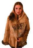 "GOLDEN ""Goose"" Mink Gold Cross Fox Collar Fur Coat"