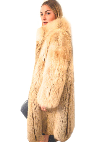 1970's Vintage BoHO CHIC Coyote Full Length BAD ASS Fur Coat