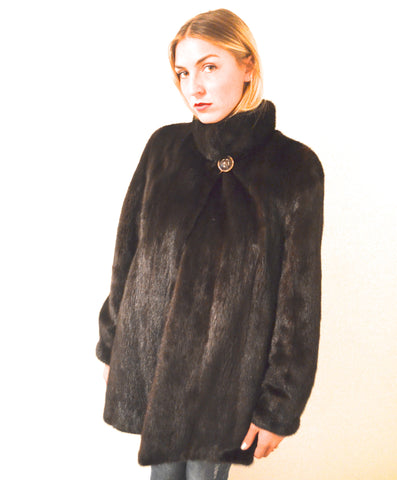 "Gently Loooved   ""Smoooooth"" Mahogany Brown Mink Fur Coat NEW"