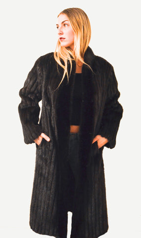 "1970's Vintage Full Length ""Silky SOFT"" Corded Ranch Mink Fur coat"