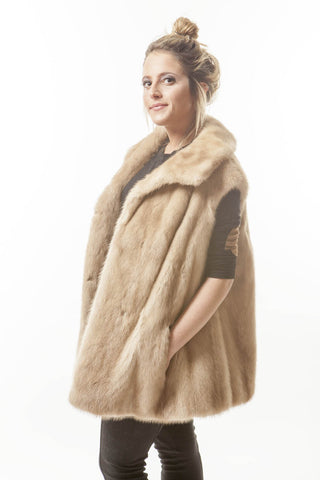 1970's VINTAGE Blonde Brown Mink Fashion Fur VEST