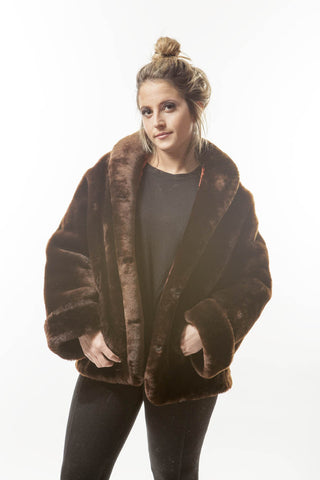 1960's Vintage Brown Mouton Womens Fur Coat