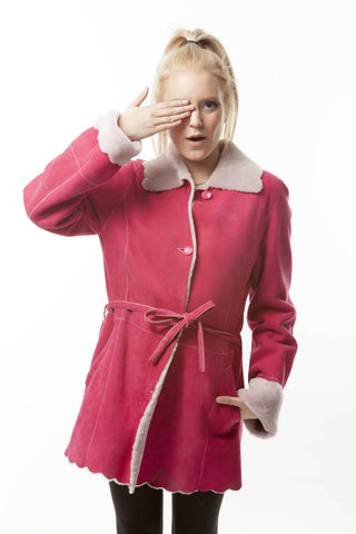 "ESCADA PINK ""CUTE AS A CUPCAKE""  SHEARLING COAT"