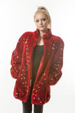1990's  Vintage INTARSIA RED SHEARED BEAVER coat medium