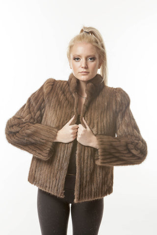 1970's Vintage Brown Corded Mink Sporty DISCO Jacket