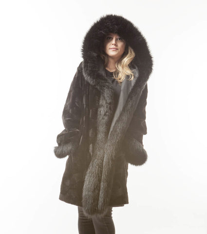 Black Sheared Mink Hooded Coat Fox Tuxedo Collar  FOX  Cuffs Coat