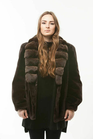 Sheared Brown BEAVER CHINCHILLA TUXEDO Collar  FUR COAT Medium