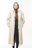 1990's Super CHIC Vintage WHITE Cross Mink Fox Full Length Fur Coat