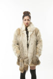 Vintage 1970's Coyote Fur Coat with POM POM TAIL Scarf