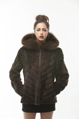 Brown Sheared Mink Fur Jacket Hooded Fox Bomber Jacket