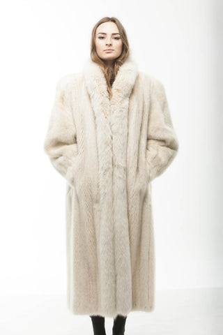 1980's Vintage White Mink Fur Full Length Coat with Fox Fur Collar