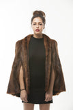1960's Vintage Brown Fur Marmot Cape Stole - One Size
