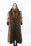Burgundy Wine Opossum Fur Reversible Rainwear Full Length Coat Large