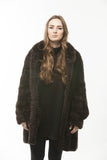 PAULA LISHMAN Brown Knitted Beaver Fur coat mandarin collar PLUS SIZE