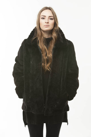 Vintage Gently Loved Black Sheared Mink Fur Reversible Leather Jacket