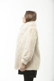 1960's Vintage Retro Dyed White Mink Fur with Fox Tuxedo Collar Trim