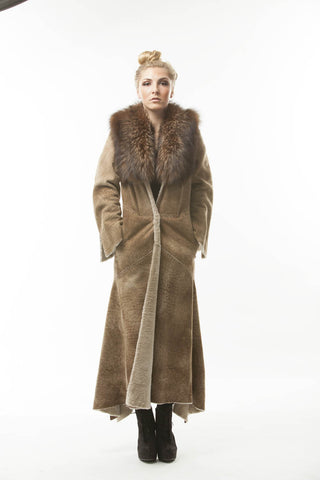 """Britt Royaaaaal"" BROWN  Small Recycled SHEARLING FOX FUR LUSH COLLAR"