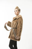 1960's Fashion Pastel Brown Mink Fur Leather Belted Coat