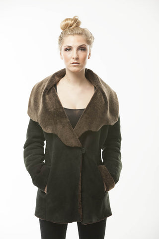 Womens Black Brown Shearling Coat