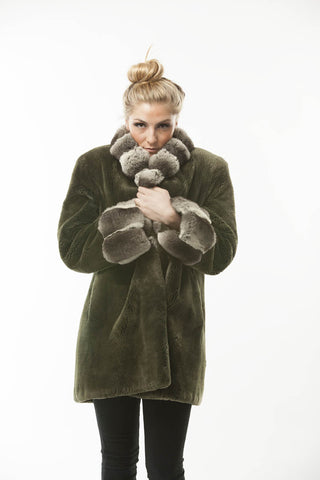 Green Sheared Beaver FUR Coat with Chinchilla Fur Collar and Cuffs