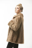 1960's Pastel Brown Retro Vintage Mink Fashion Fur Jacket Medium
