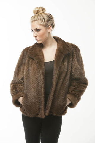 Vintage 1970's Oscar De LA Renta Chevron Corded Brown Mink Fur Jacket
