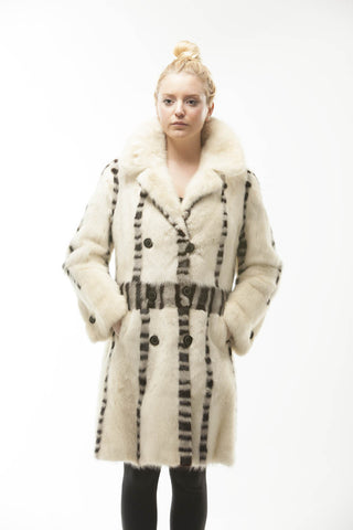 "1950'S KILLER ""MAD MEN"" RETRO RHINESTONE BLING WHITE MINK FUR COAT"