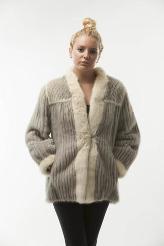 Women's Vintage GREY MINK FUR JACKET  WHITE TRIM