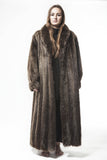 "1990's Vintage Long Haired Beaver Brown Full Length 54""  Plus Size Womens Large  Fur Coat"