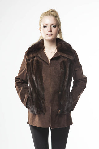 1970's Vintage Brown Mahogany Mink Fur Jacket Leather Suede