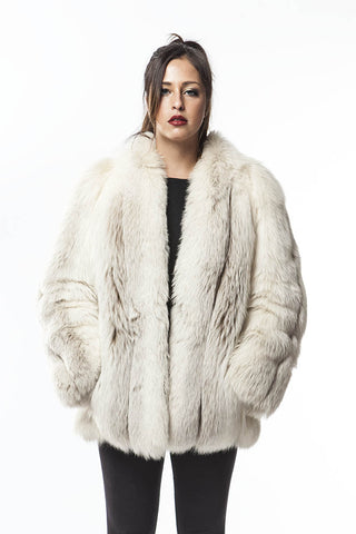 1970's Vintage LUSH Labrador white Fox Fur Coat